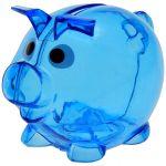 Piggy bank transparent blue 9858