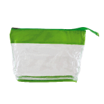 Toiletry bag transparant with coloured band lime green 290407
