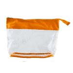 Toiletry bag transparant with coloured band orange 290407
