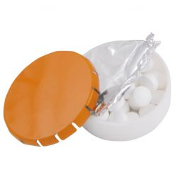 Super round plastic Click container with approx. 12gr. Sugarfree mints orange 501122