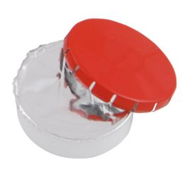 Super round plastic Click container with approx. 12gr. Sugarfree mints red 501122