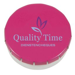 Super round plastic Click container with approx. 12gr. Sugarfree mints pink 501122
