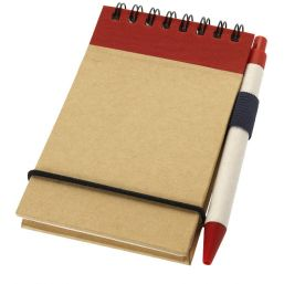 Zuse A7 recycled jotter notepad with pen natural/red 106269