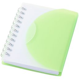 Post spiral A7 notebook with blank pages green/transpar 106387