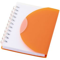 Post spiral A7 notebook with blank pages orange/transpar 106387