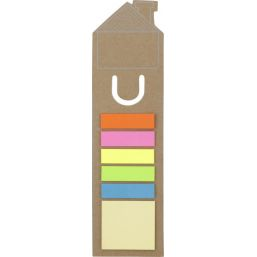 House shaped bookmark and sticky notes brown 3586
