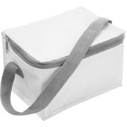 Polyester (420D) cooler bag suitable for six cans white 3604