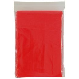 Disposable poncho transparent red 9789